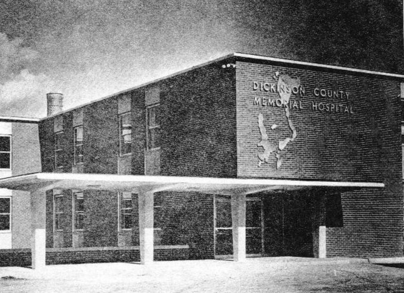 dickinson county hospital black and white photo