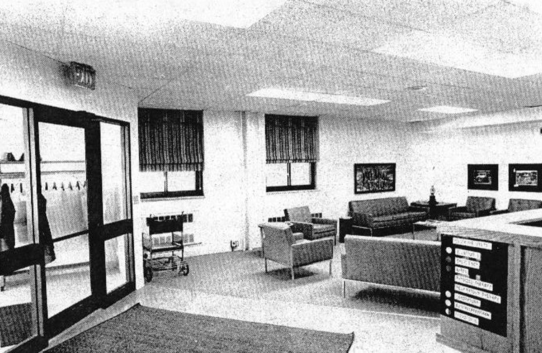 b and w photo of waiting room