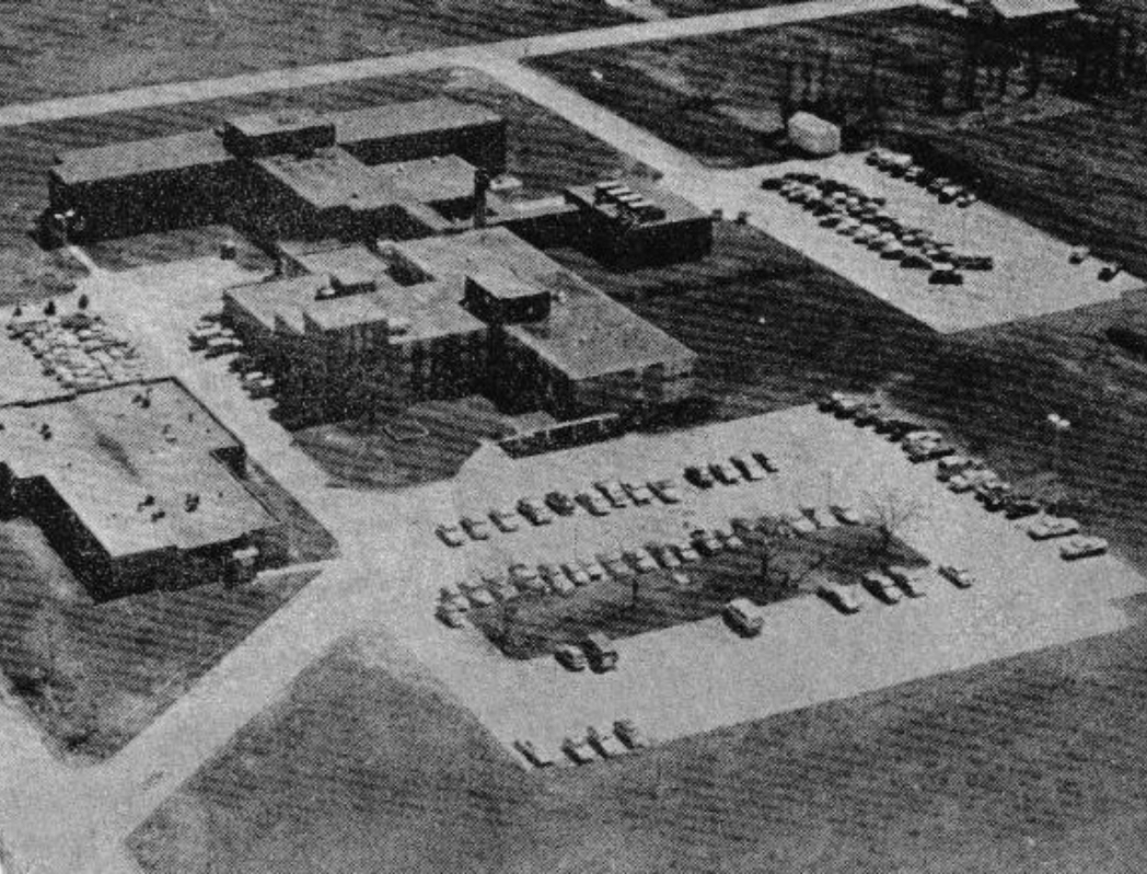 black and white photo from the air of hospital