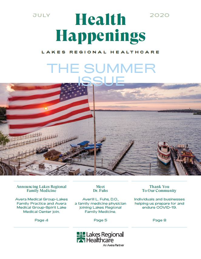 Cover of Health Happenings newsletter with an aerial photoo of Arnolds Amusement Park, West Lake Okoboji, and the American flag