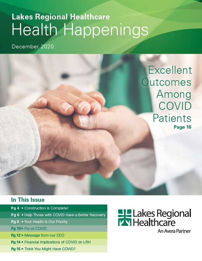 Health Happenings cover with a provider in a white lab coat and green scrubs holding someone's hand with their two hands