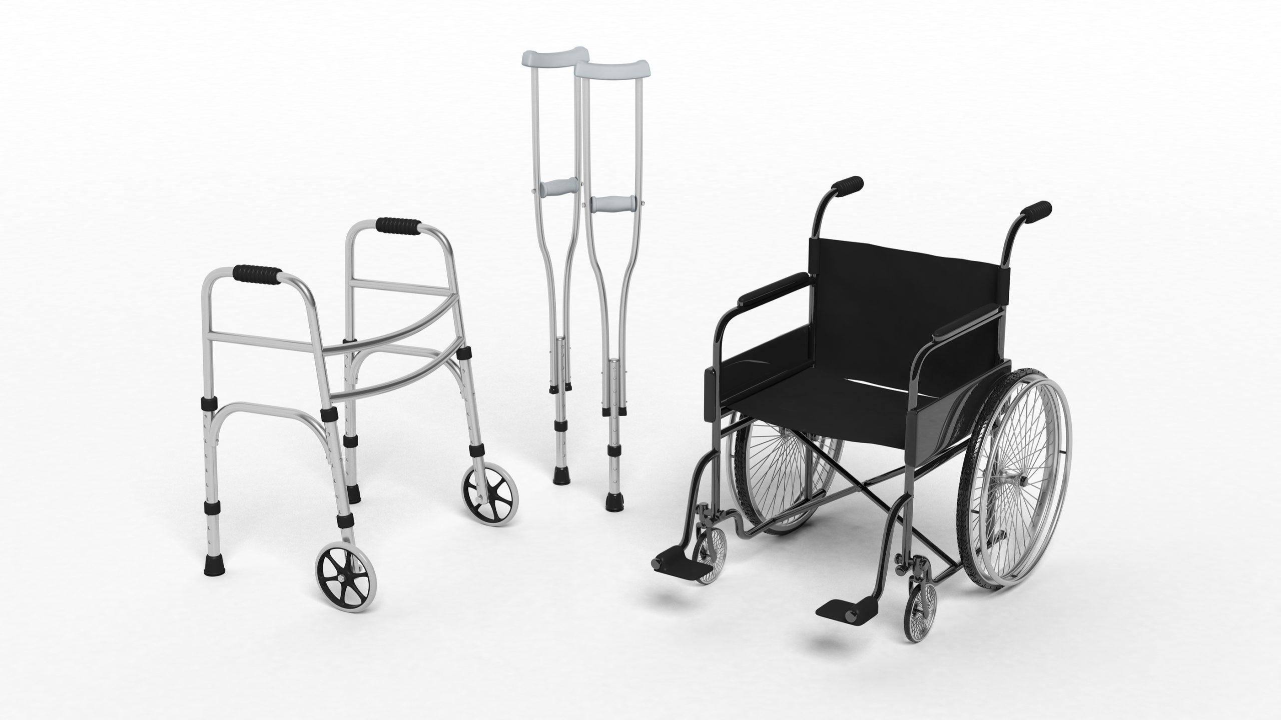 Walker, set of crutches, wheelchair